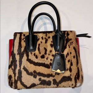 Auth Mcm pony hair and leather tote handbag purse